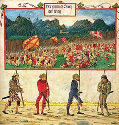 Albrecht Altdorfer, The Swiss War, from Triumphant Emperor Maximilian, 4.5 x 9.3 cm, on parchment, circa 1513-1515 (Albertina, Vienna). Though he is better known for his prints, drawings and paintings, Altdorfer's hand is immediately recognizable in this miniature from an illuminated manuscript.