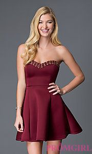 Buy Short A-Line Strapless Sweetheart Dress CL-43713 at PromGirl