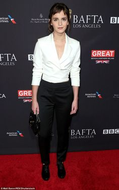 The mane attraction: Emma Watson, 27, debuted an edgy short fringe while attending the BAFTA tea-party event held in Los Angeles on Saturday