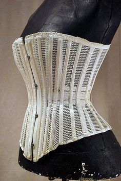 Wonderful cotton mesh highly structured and stayed summer corset dating to the late 19thc