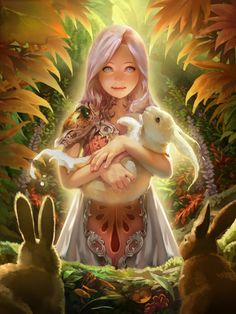 digital, fantasy, medieval, dragon, beautiful, legend of cryptids, beautiful collors, woman, rabbit