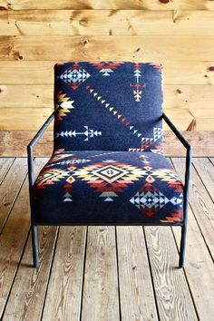Pendleton Blanket Metal Side Chair in Pueblo Dwelling Southwest Decor, Southwest Style, Southwestern Chairs, Plywood Furniture, Furniture Chairs, Funky Furniture, Upcycled Furniture, Furniture Makeover, Furniture Ideas