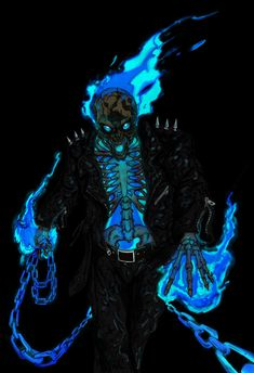 Danny Ketch Ghost Rider by ConstantScribbles - I like the fact that this Ghost Rider is donned in Ice Cold Blue Flame :)  Or is it, that this Ghost Rider is just so hot, that he's on Fire!