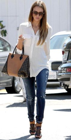 casual chic style - Louis Vuitton handbag, jeans, white shirt and hells