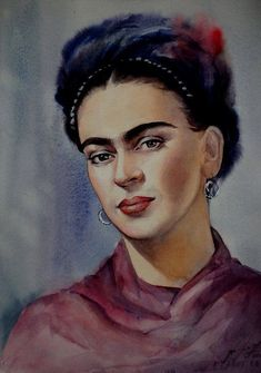 watercolor portrait frida kahlo Frida Kahlo Watercolor portraitYou can find Aquarell portrait and more on our website Simple Portrait, Portrait Art, Watercolor Portraits, Watercolor Paintings, Watercolor Trees, Encaustic Painting, Watercolor Landscape, Abstract Paintings, Oil Paintings