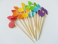 12 Rainbow MUSIC NOTE Colorful Party Picks / Cupcake by naissance, $1.85