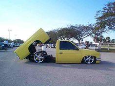 cars and trucks gold chrome wire rims Bagged Trucks, Lowered Trucks, Mini Trucks, Nissan Trucks, Chevy Trucks, Pickup Trucks, Nissan Hardbody, Mini S, Custom Trucks