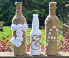 Custom twine wrapped wine bottles / Rustic wedding decor / Upcycled on Etsy, $35.00