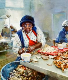Miss Thelma, a crab picker in Hacks Neck, Virginia,, swiftly picks and sorts the meat from a day's catch 2009 - artist Mary Whyte(for Portraits of a Vanishing South African American Artist, American Artists, African Art, Art Watercolor, Watercolor Portraits, Posters Vintage, Black Art Pictures, Black Picture, Black Artwork
