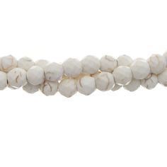 White Howlite 6mm Faceted Gemstone Bead Strand Thread Chains, Presidents Day Sale, Bead Shop, Semi Precious Gemstones, Round Beads, Gemstone Jewelry, Cool Things To Buy, Pendants, Jewels