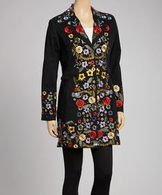 Give chilly breezes the cold shoulder in standout style with this fashion-forward jacket. Boasting beautiful floral embroidery in bold, bright colors, this lovely layer is a sweet staple.