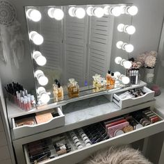 DIY Simple Makeup Room Ideas, Organizer, Storage and Decorating Makeup room Such a stunning dressing room from featuring our Diaz Hollywood Mirror. Makeup Mirror with Lights Makeup Table Vanity, Vanity Room, Diy Vanity, Vanity Mirrors, Mirror Shelves, Storage Mirror, Ikea Shelves, Storage Drawers, Mirror Drawers