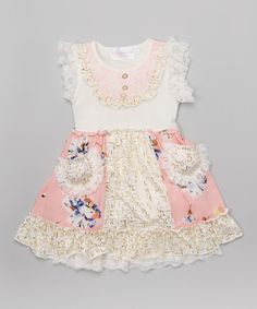 Look at this Pink Lace Angel-Sleeve Dress - Infant, Toddler & Girls on #zulily today!