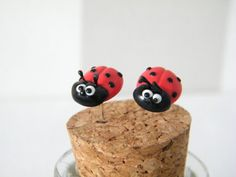 Ladybird Earrings  Polymer clay ladybird stud by MadebyIzzyGifts