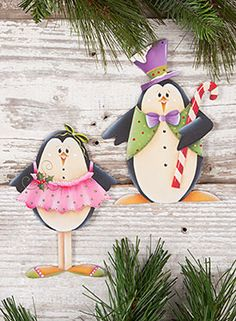 Dancing Penguin Ornaments from the book Winter Whimsy, Vol. 4 by Renee Mullins. Book and wood surface available at www.ArtistsClub.com