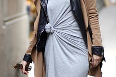 Grey jersey dress..& leather & trench....knotted to define curves...layered to make it your own!
