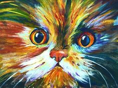 Ginger Cook acrylic paint instructions  --  How to paint a Colorful Calico Cat #pawaugustart 60 minute step by step tutorial - YouTube