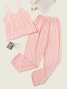 Check out this Striped Lettuce Hem Cami Pajama Set on Shein and explore more to meet your fashion needs! Cute Sleepwear, Sleepwear Women, Lingerie Sleepwear, Nightwear, Cute Pajama Sets, Cute Pajamas, Sexy Pajamas, Summer Pajamas, Girls Pajamas