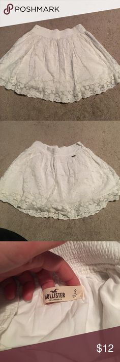 Hollister skirt White skirt with floral design. Flowy and cute. Hollister Skirts