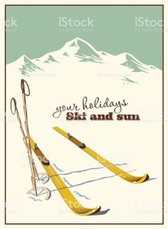 Winter  background. Mountains and ski equipment in the snow royalty-free stock vector art