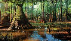swampy marsh sketch by Jason Scheier Landscape Concept, Fantasy Landscape, Art Environnemental, Nature Spirits, Fantasy City, Tumblr, Environment Concept, Environmental Art, Art Portfolio