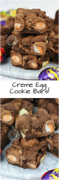Creme Egg Cookie Bars!! A Gooey Chocolate Chip Cookie Bar with Chocolate Chunks, and Mini Creme Eggs – Amazing Creme Egg Cookie Bars!