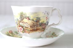 Vintage Royal Albert Autumn Pattern English Bone China Tea Cup and Saucer From the Cottage Garden Year Series 1984