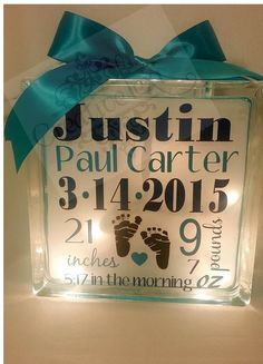 Personalized Baby Annoucement Keepsake Glass block cube night light by CreativeLexi on Etsy