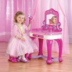 American Plastic Toys Deluxe Vanity Set with Mirror Small Vanity, Vanity Set With Mirror, Girls Vanity Set, Purple Accents, Jewellery Storage, Girls Shopping, Kids Playing, Flower Girl Dresses, Furniture