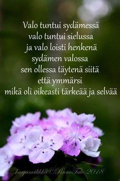 Runotalon voimakortti Valo tuntui sydämessä valo tuntui sielussa ja valo loisti henkenä sydämen valossa sen ollessa täytenä siitä että ymmärsi mikä oli oikeasti tärkeää ja selvää, runotalo.fi Affirmation Cards, Wise Words, Affirmations, Poems, Mood, Thoughts, Finland, Quotes, Zen