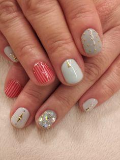 Nails, Nail Art, Nail Design, Manicure, Studs, Rhinestones, Triangles, Nautical, Stripes, Red, Blue, Gold, Grey, Glitter, Preppy