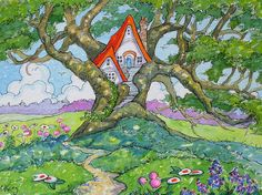 "Peinture ""A Meadow Treehouse"" par Alida Akers (série  Storybook Cottage)"