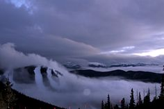 December 22, 2012 - Low clouds hugging North Peak.  Resulted in 5 fresh inches for the next morning.