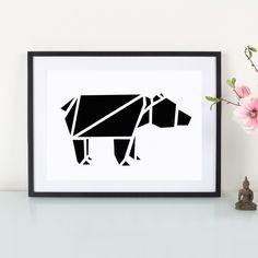 Artprint Origami Bär von Eulenschnitt via dawanda.com