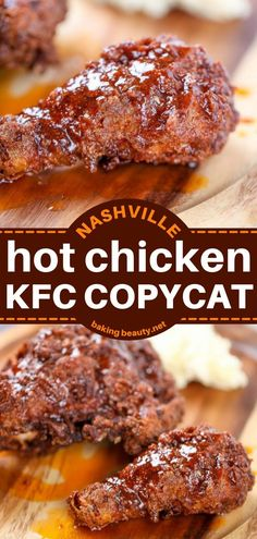 This chicken main dish is on a whole new level! Ultra crispy with a buttery hot sauce, this Nashville Hot Chicken recipe is more than finger-licking good. Get your taste buds ready for this KFC copycat and try this dinner idea for tonight! Easy Main Dish Recipes, Easy Chicken Dinner Recipes, Chicken Parmesan Recipes, Chicken Thigh Recipes, Copycat Recipes, Yummy Recipes, Nashville Hot Chicken Recipe, Food Dishes, Main Dishes