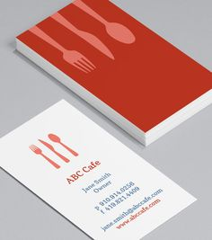 Kitchen collage on black wood business card tarjetas presentacion caf utensils theres always a welcoming place laid at your table with these warm pastel business cards ideal for your caf restaurant colourmoves