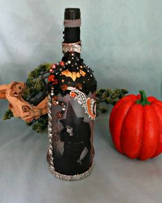 Halloween decor Victorian Witch bottle with beads and seashells_holiday home decor_collage art bottle by CarmelasCoastalCraft on Etsy