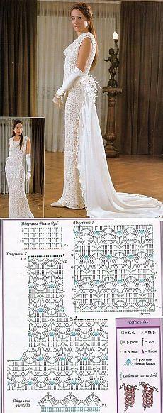 El vestido de boda por el gancho el esquema. El vestido tejido por el gancho el encaje irlandés   la Economía doméstica para toda la familia