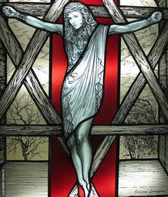 """www.JeremyLangford.com """"Madonna, Our Lady of Lourdes"""" Artists statement: I found it incredibly amusing to have this """"Nice Catholic girl"""" studying ancient Jewish texts and dabbling in New Age Jewish mysticism. Voila, let's have her crucified on a Magen David, a Star of David. Technique: Traditional leaded antique stained glass with grisaille  kiln fired glass painting. #Madonnna #StainedGlass #Glass #Art #JeremyLangford #StudioGlass"""