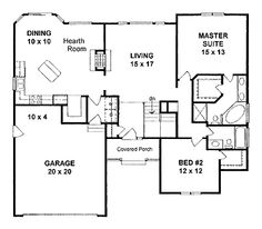 Two Bedroom Traditional (HWBDO68130) | Traditional House Plan from BuilderHousePlans.com