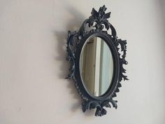 Small French vintage mirror, wall hanging with detailed Art Nouveau / Louis XV styled frame and original glass, painted blue grey.