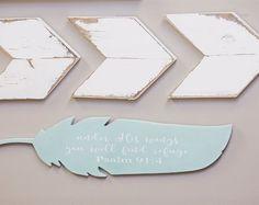 Wood feather Psalm 91:4 Verse Handpainted Cut Wall Art Sign Decor