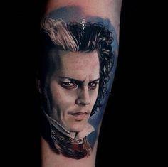 Portrait Tattoo of Sweeney Todd #inked #Inkedmag #tattoo #art #Idea #sweeneytodd #johnnydepp #realism