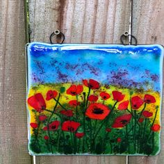Handmade fused glass panel 4 x 7 with a Daisy design. Old Wine Bottles, Wine Bottle Candles, Wine Corks, Recycled Bottles, Purple Wildflowers, Yellow Flowers, Glass Flowers, Glass Birds, Fused Glass Art