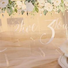 Ivory flower acrylic wedding table sign, matching wedding invitation Affordable Wedding Invitations, Elegant Wedding Invitations, Table Signs, Wedding Table Settings, Wedding Matches, Wedding Designs, Ivory, Place Card Holders, Flowers