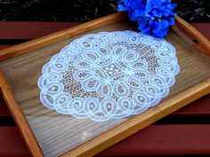 Vintage Wood Serving Tray w/Handles & Crocheted Doilie by TimelessTreasuresbyM on Etsy