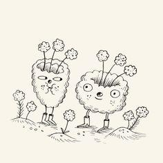 Cotton puffs from Tinyland  #Tinyland #illustration #cottonwool #sketchbook