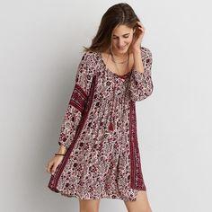 AEO Pattern Shift Dress ($50) ❤ liked on Polyvore featuring dresses, maroon, neck ties, tie neck dress, bohemian dress, tassel dress and boho dress
