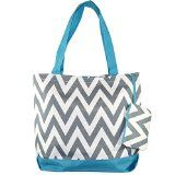 Ever Moda Chevron Print Tote Bag Gray Blue
