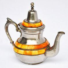 """Antique"" Moroccan Tea Pot - Large  Inset With Camel Bone  Price 95 USD"